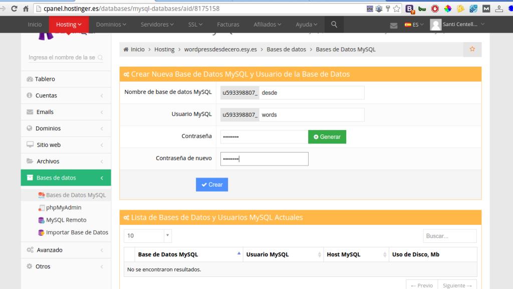 Creación base de datos Hostinger