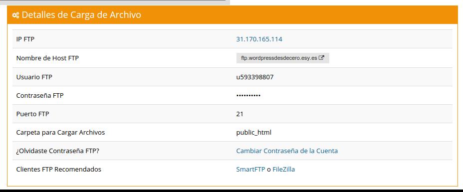 detalles cuenta ftp hostinger