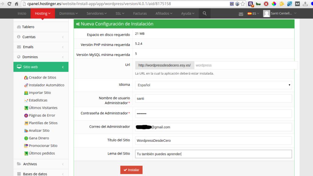 Formulario instalador wordpress hostinger