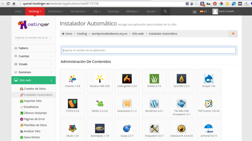 Instalador apps Hostinger