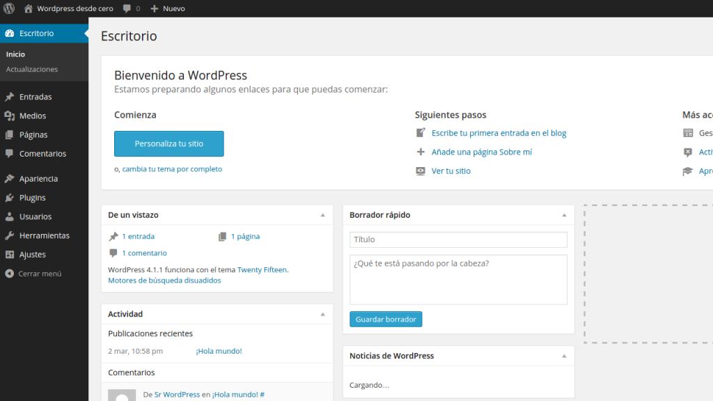 administración wordpress