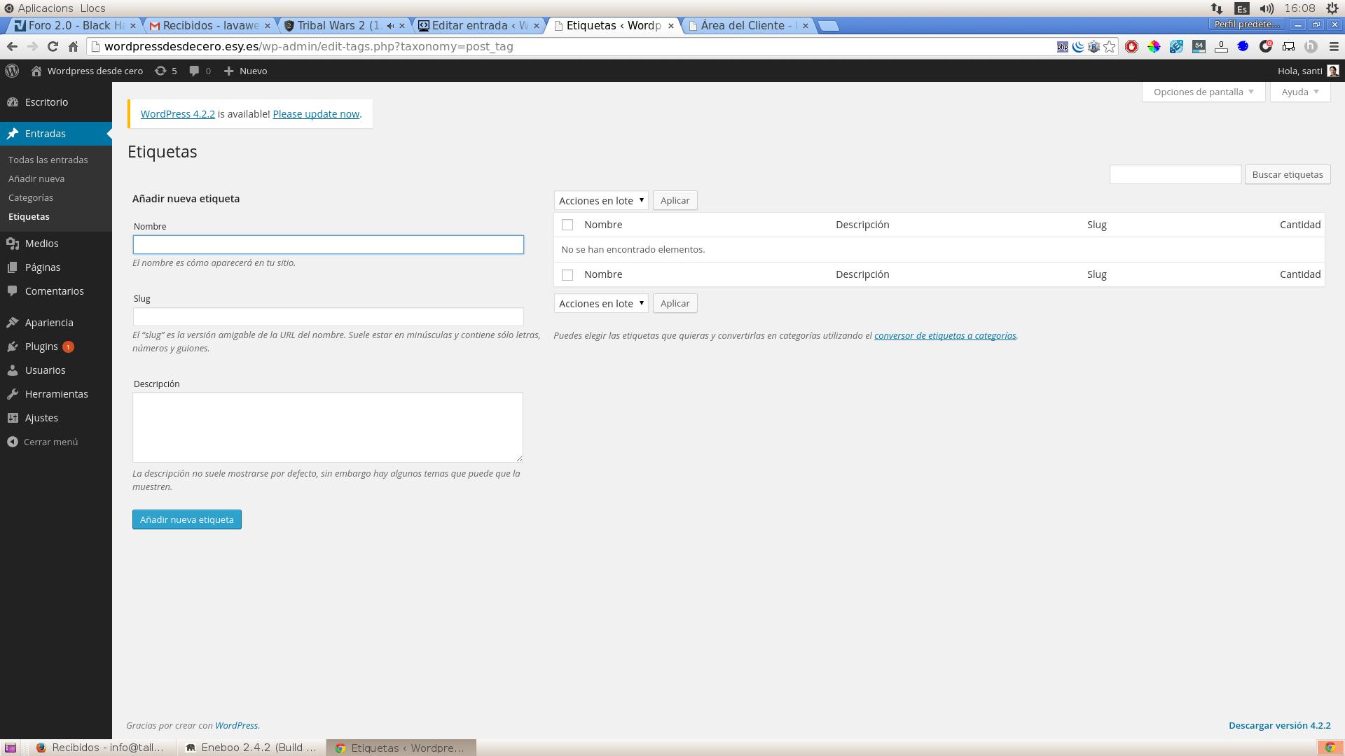 El panel de administración de Wordpress   Web desde cero